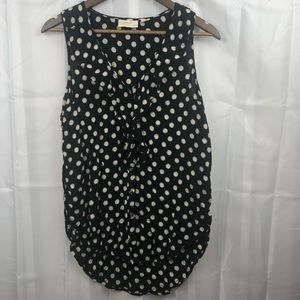 Anthropologie Maeve button up polka dot tank top